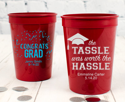 Personalized Maroon Graduation Plastic Cups