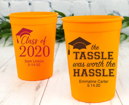 Personalized Orange Graduation Plastic Cups