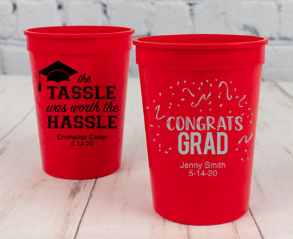 Personalized Red Graduation Plastic Cups