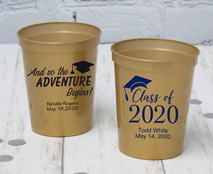 Personalized Gold Graduation Cups