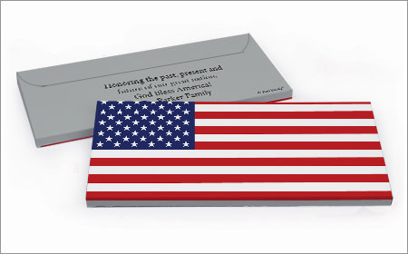 Personalized 4th of july chocolate bar in a gift box