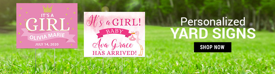 Personalized Girl Birth Announcement Yard Signs