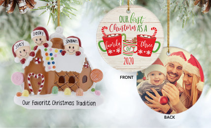 Personalized family of 3 Christmas Ornaments