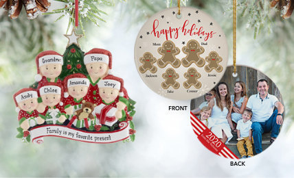Personalized family of 6 Christmas ornaments