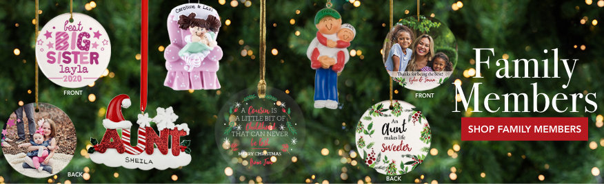 Personalized family members Christmas ornaments
