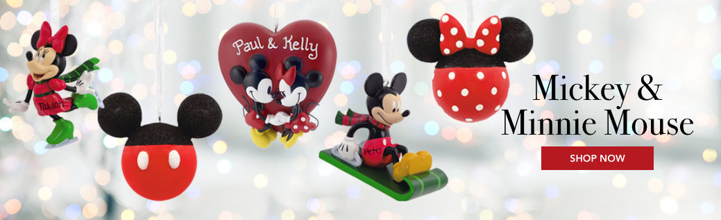 Personalized Mickie & Minnie Mouse Christmas Ornaments