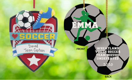 Personalized Soccer Christmas Ornaments