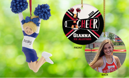 Personalzied Cheerleading Christmas Ornaments