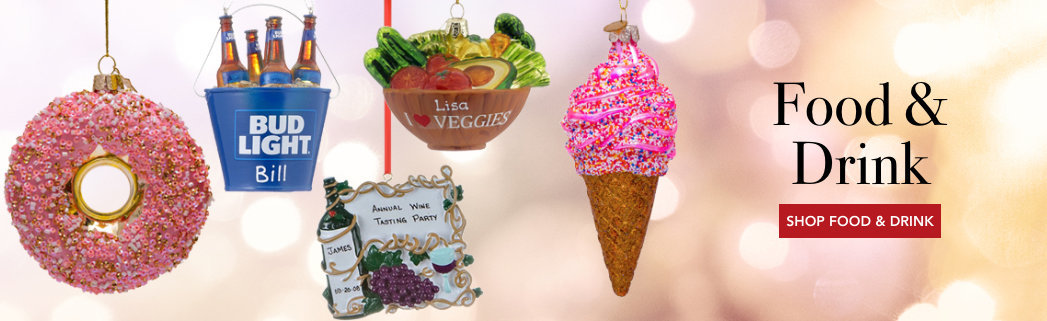 Personalized Food & Drink Christmas Ornaments