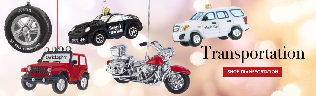 Personalized transportation Christmas ornaments