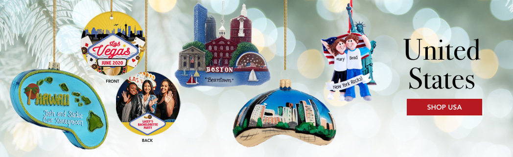 Personalized United States Travel Christmas Ornaments