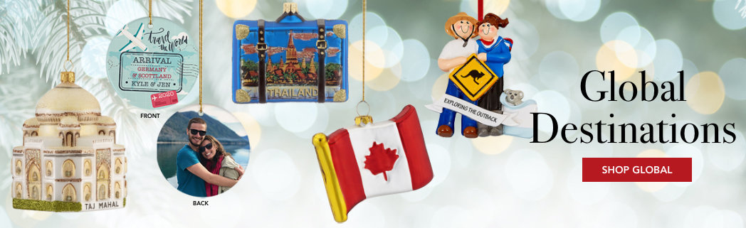 Personalized Global Destination Christmas Ornaments