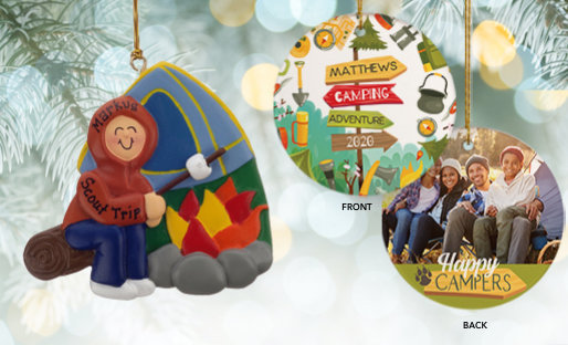 Personalized camping & hiking Christmas Ornaments