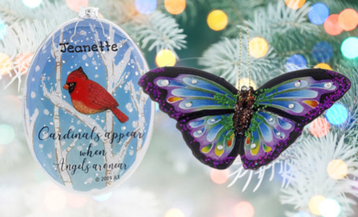 Personalized Bird & Insect Ornaments
