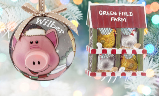 Personalized Farm Animals ChristmasOrnaments