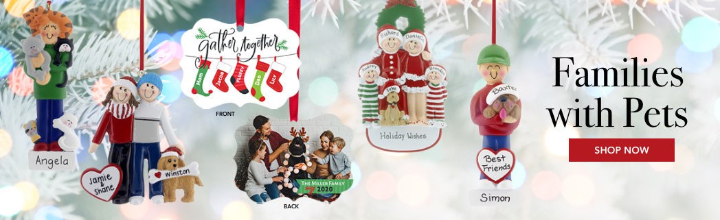 Personalized Families with pets Christmas ornaments