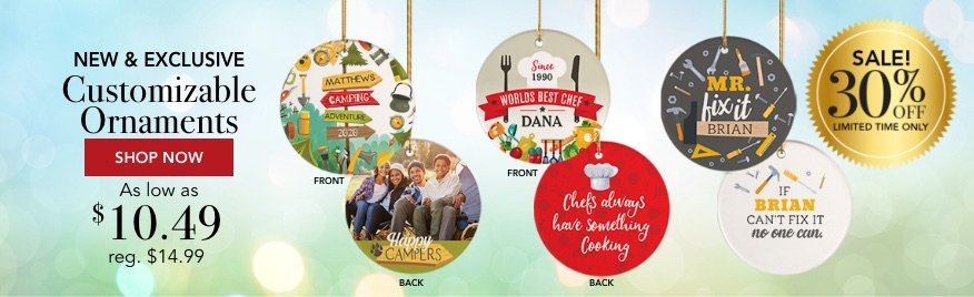 Personalized New & Exclusive Christmas Ornaments