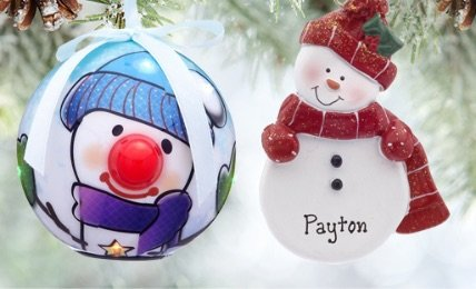Personalized Snowmen Themed Christmas Ornaments