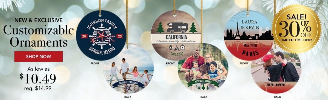 Customizable Travel Christmas Ornaments