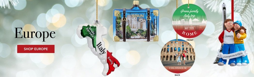 Personalized Europe Travel Christmas Ornaments