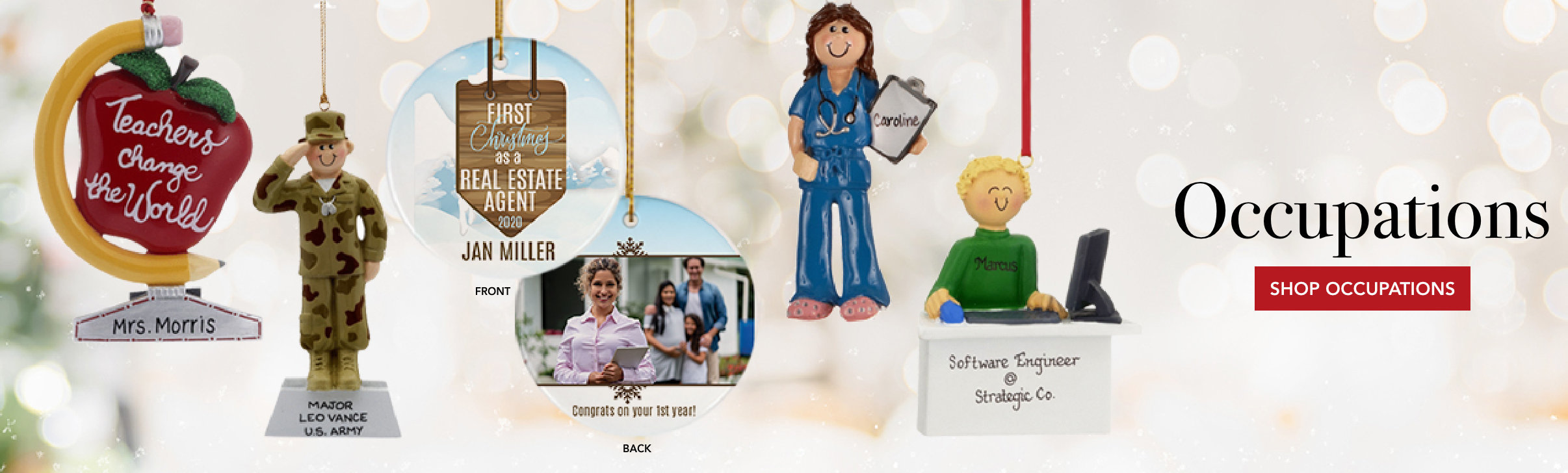 personalized occupation ornaments