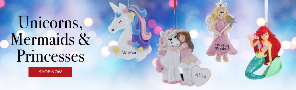Personalized Unicorns, Mermaids & Princess Ornaments