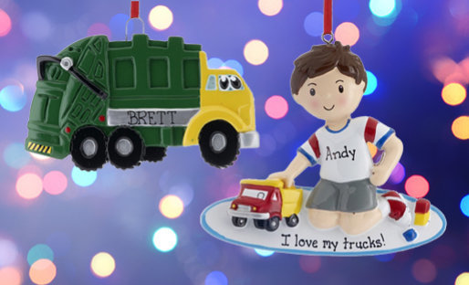 Personalized Kids Transportation themed ornaments