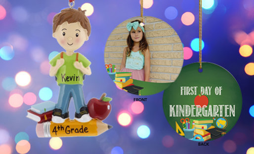 Personalized Kids school themed ornaments