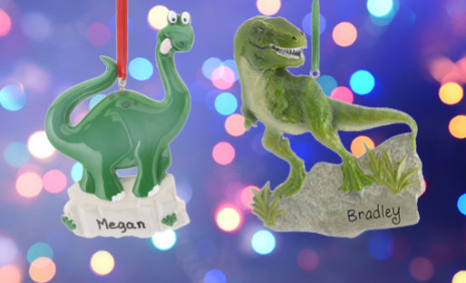 Personalized Dinosaur Christmas Ornaments