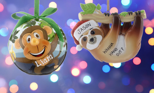 Personalized Zoo Animals Ornaments