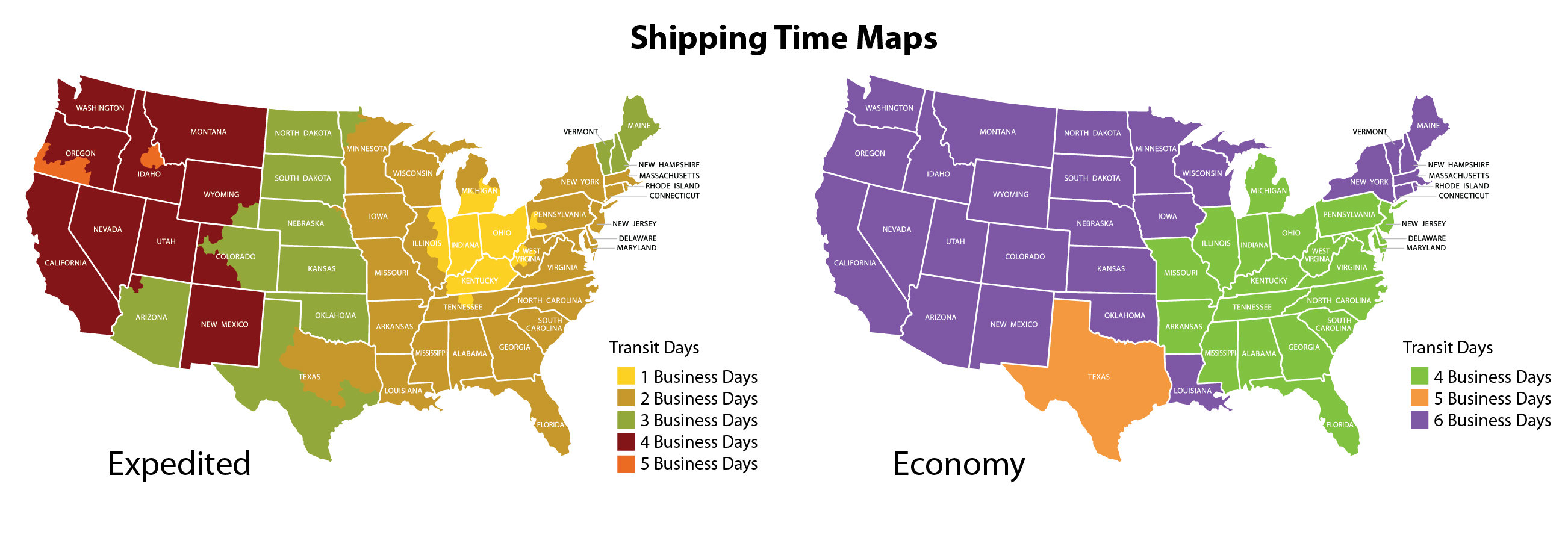 WH Candy Shipping Transit Time Map