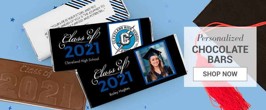 Blue Graduation Chocolate Bars