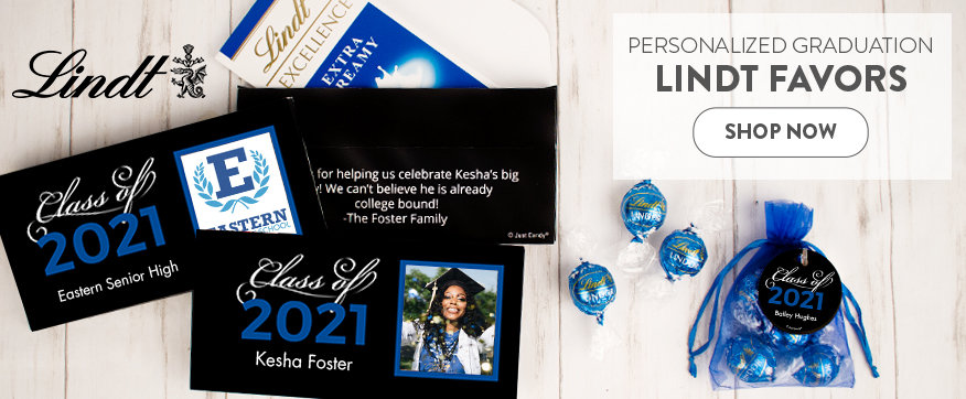 Shop Personalized Blue Graduation Lindt Favors