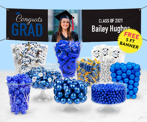 Blue Graduation Candy Buffets