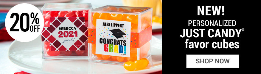 Shop Orange Graduation Candy Cube Favors