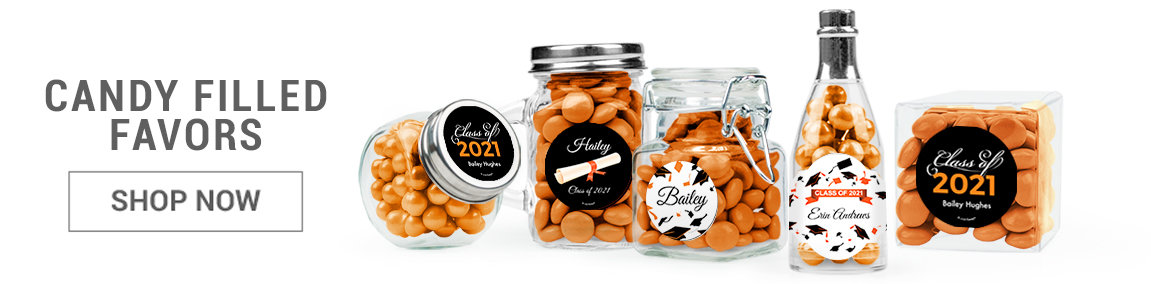 orange graduation candy filled favors