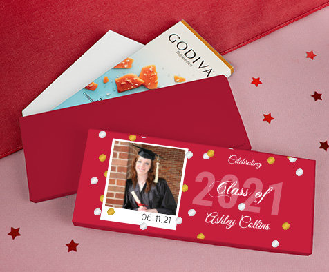 Personalized Red Graduation Godiva Chocolate Bars