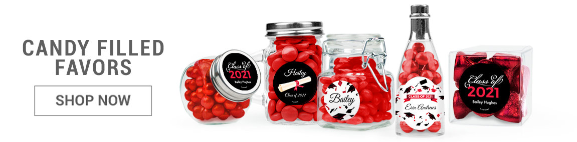 red graduation candy filled favors