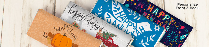 Shop Personalized Holiday Wrapped Chocolate Bars