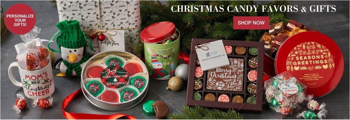 Personalized Christmas Candy Gifts and Favors