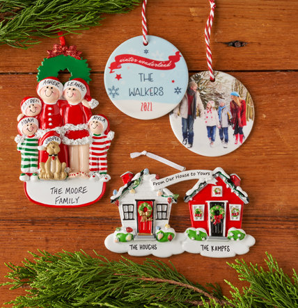 HOLIDAY PERSONALIZED CHRISTMAS ORNAMENTS