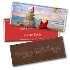 Personalized Embossed Chocolate Bar - Christmas Tropical Snowman