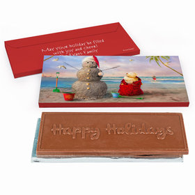 Deluxe Personalized Christmas Tropical Snowman Chocolate Bar in Gift Box