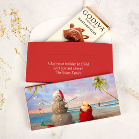 Deluxe Personalized Tropical Snowman Christmas Godiva Chocolate Bar in Gift Box