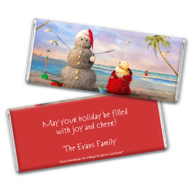 Personalized Chocolate Bar & Wrapper - Christmas Tropical Snowman