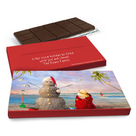 Deluxe Personalized Christmas Tropical Snowman Chocolate Bar in Gift Box (3oz Bar)
