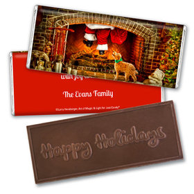 Personalized Embossed Chocolate Bar - Christmas Santa's Puppy