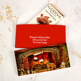 Deluxe Personalized Santa's Puppy Christmas Godiva Chocolate Bar in Gift Box