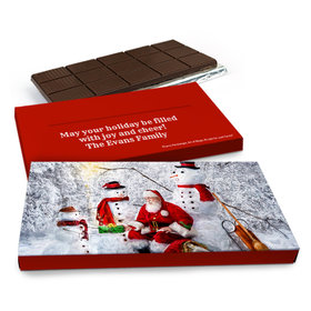 Deluxe Personalized Christmas Santa's Puppy Chocolate Bar in Gift Box (3oz Bar)
