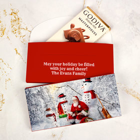 Deluxe Personalized Santa's Gifts Christmas Godiva Chocolate Bar in Gift Box